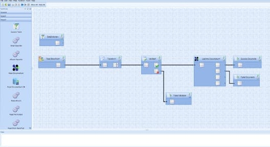 Screenshot of OpenText ContentBridge showing the graphical mapping process